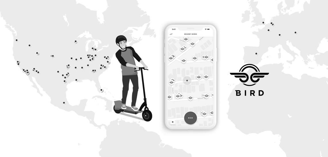 Escooter app development-Bird electric scooters taking over 100+cities