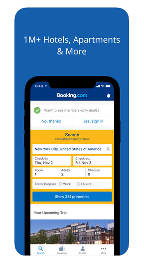 Filters travel booking app